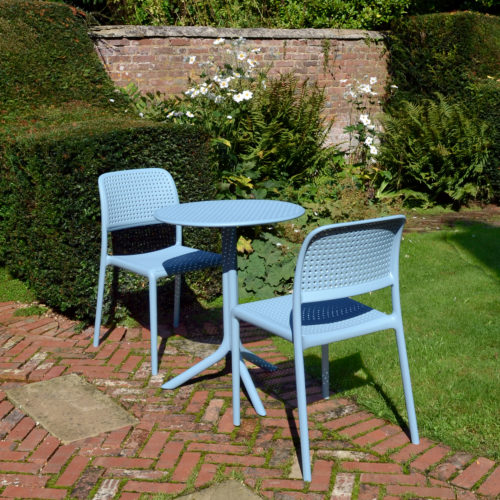 ZN/SSTEPS-02SBTS Sky Blue Step Table With 2 Bistrot Chair Set