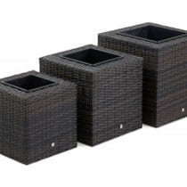 Set of 3 Square Rattan Planters 332.398